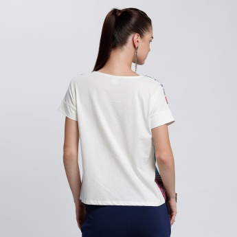Bossini Printed Top with Round Neck and Short Sleeves