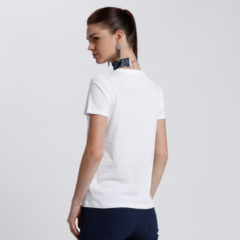 Bossini Printed Round Neck T-Shirt with Short Sleeves