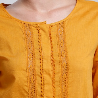 Bossini Crochet Detail Top with 3/4 Sleeves