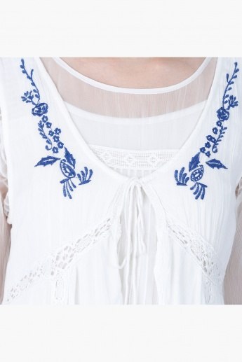 Embroidered High-low Shrug