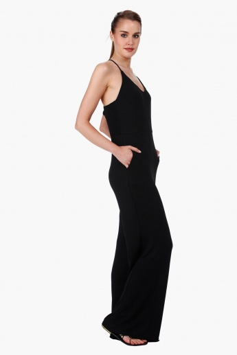 Sleeveless Strappy Jumpsuit with V-Neck in Regular Fit