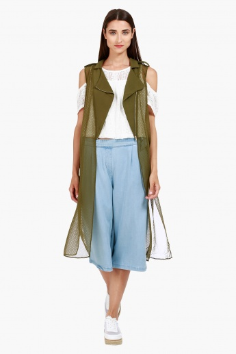 Sleeveless Perforated Longline Jacket with Notched Lapel in Regular Fit