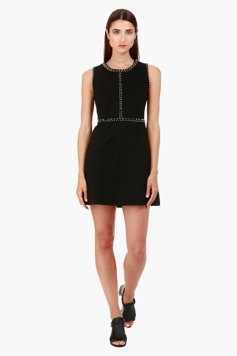 Sleeveless Dress with Studded Detailing in Regular Fit