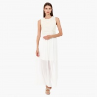 Sleeveless Chiffon Maxi Dress with Crew Neck and Embellishments in Regular Fit