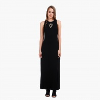 Sleeveless Maxi Dress with Round Neck and Necklace