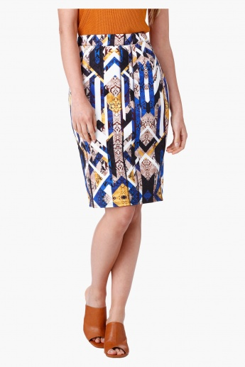 Printed Pencil Skirt in Regular Fit
