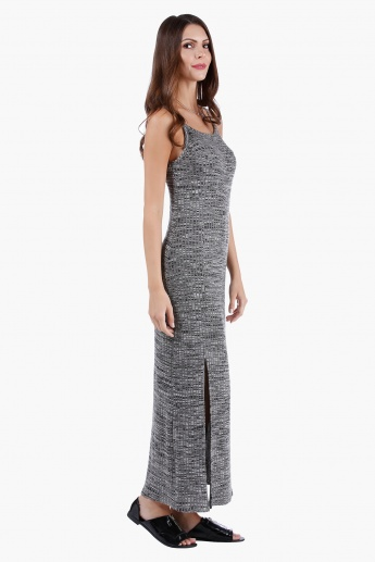 Strappy Column Maxi Dress with Slit in Regular Fit