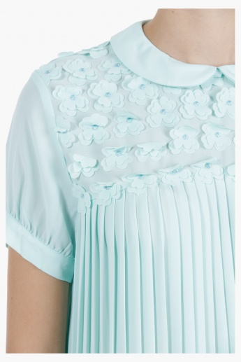 Pleated Blouse with 3D Floral Yoke in Regular Fit