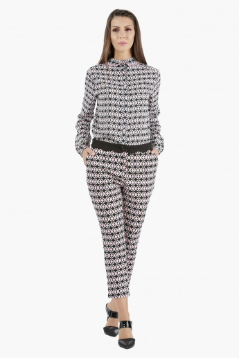 Printed Cropped Trousers in Regular Fit