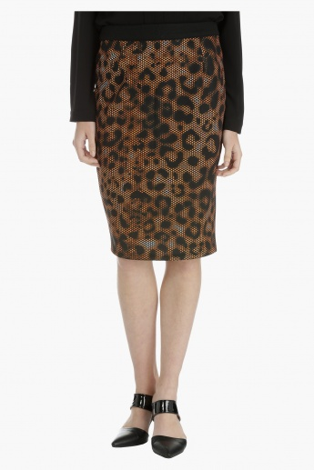 Pencil Skirt with Printed Panel