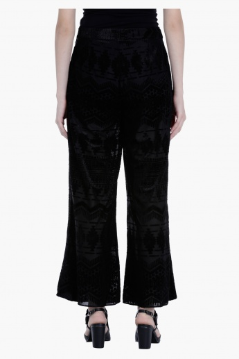 Cropped Wrap Front Palazzo Pants in Regular Fit