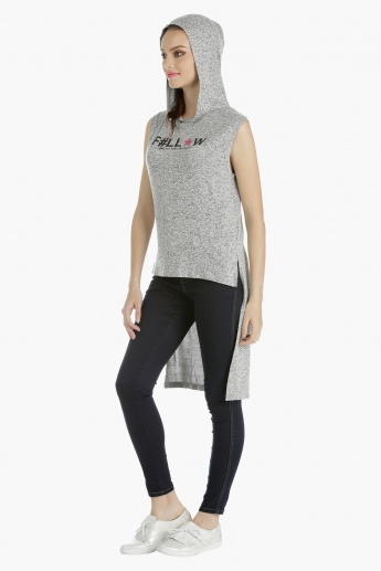 Sleeveless High Low Sweatshirt with Hood