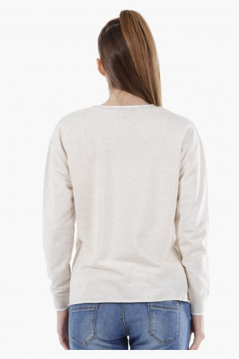 Long-Sleeved Sweatshirt with 3D Trims in Regular Fit