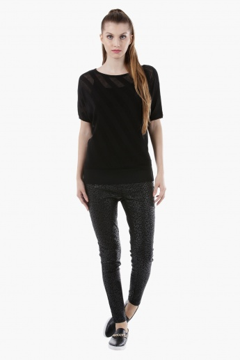 Sheer Ribbed Top with Round Neck and 3/4th Sleeves in Regular Fit