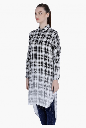Chequered Shirt Dress with High Low Hem