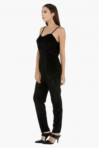 Textured Jumpsuit with Spaghetti Straps