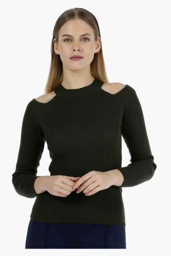 Full-sleeved Cold Shoulder Rib Top