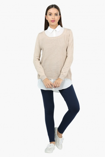 Textured Long Sleeves Layered Sweater