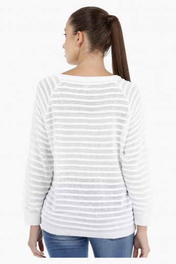 Ribbed Long Sleeves Sweater with Round Neckline