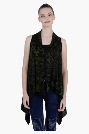 Asymmetric Sleeveless Shrug with Open Front