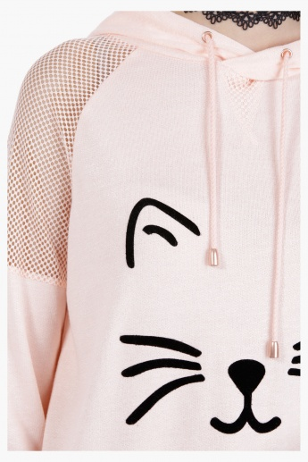 Graphic Print Hooded Top in Regular Fit