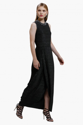 Long Dress with Ribbed Detail and Round Neck