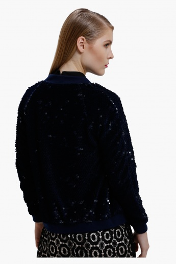 Bomber Jacket with Sequin Detail and Long Sleeves
