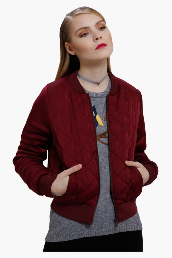 Bomber Jacket with Zip Detail and Long Sleeves