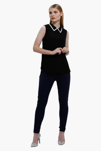 Full Length Leggings with Zip Detailing in Slim Fit