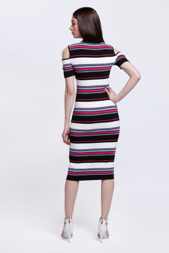 Striped Cold Shoulder Dress with High Neck
