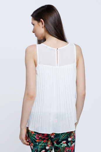 Layered Frill Top with Mesh Yoke