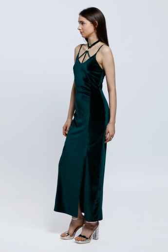 Strappy Choker Neck Detail Maxi Dress
