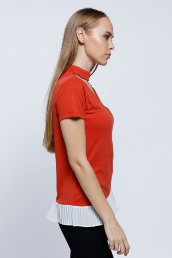 Double Layer Top with Choker Neck and Short Sleeves