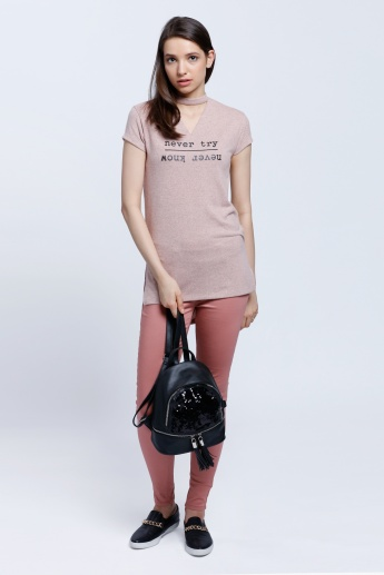 Boxy Top with V-neck Detail