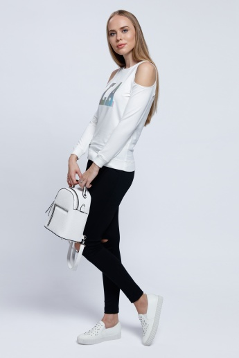 Graphic Print Sweatshirt with Round Neck and Cold Sleeves