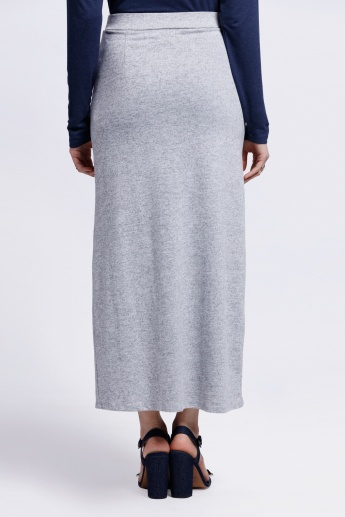 Melange Slit Skirt with Elasticised Waistband