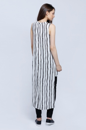 Long Striped Sleeveless Shirt with High-Low Hem