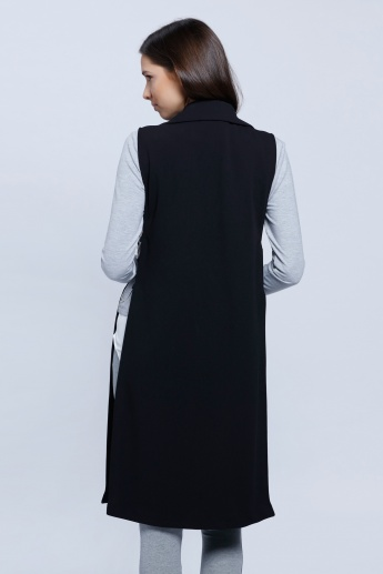 Sleeveless Longline Blazer with Notch Collar and Patch Pockets