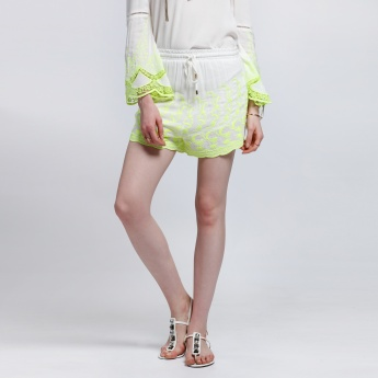 Embroidered Shorts with Elasticised Waistband and Drawstring