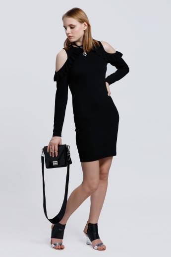 Long Sleeves Cold Shoulder Dress