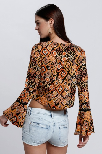 Printed Crop Top with Tie Up Neck and Bell Sleeves