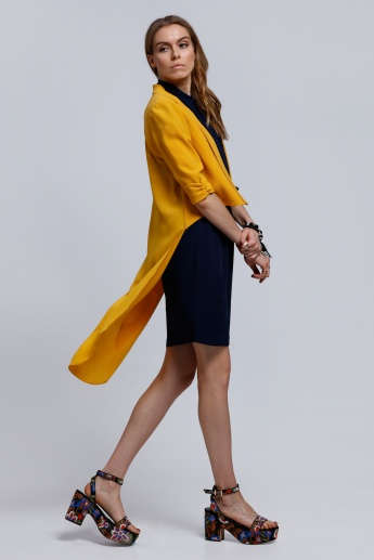 3/4 Sleeves Jacket with High Low Hem