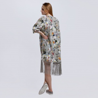 Printed Shrug with 3/4 Sleeves and Tassels