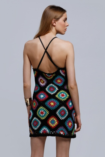 Crochet Bodycon Dress with Cross Back