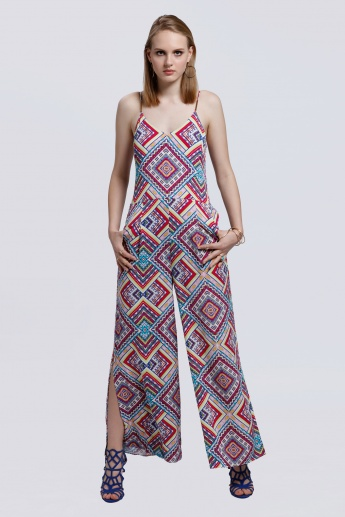 Printed Wide Leg Jumpsuit with Spaghetti Straps