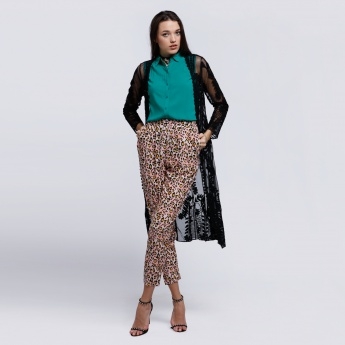 Printed Full length Pants with Elasticised Waistband