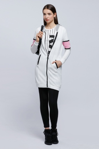 Hooded Bomber Jacket with Zip Closure and Long Sleeves