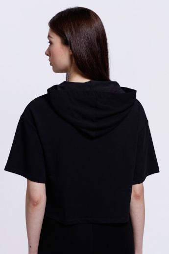 Printed Loose T-Shirt with Hood