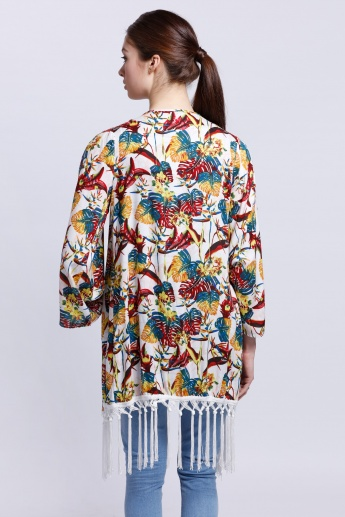 Printed Long Sleeves Shrug with Open Shoulders