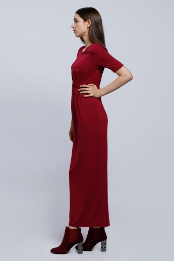 Wrap Front Maxi Dress with Round Neck and Short Sleeves